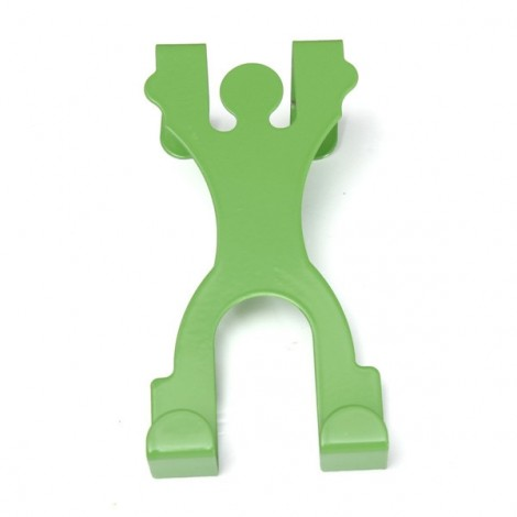 Cute Man Shape Stainless Steel Over Door Hook Cabinet Draw Clothes Holder Hanger Green