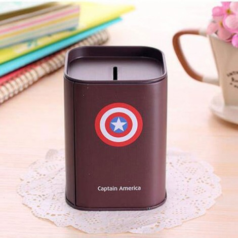 Mini Tinplate Square Captain America Coin Piggy Bank Money Box Storage Box Dark Gray