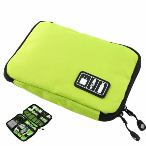 Digital Accessories Hard Drive Earphone Cable USB Flash Drive Storage Pouch Case Travel Organizer Bag Green