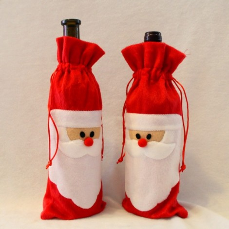 Christmas Santa Claus Wine Bottle Cover Bag Dinner Party Table Decor Red
