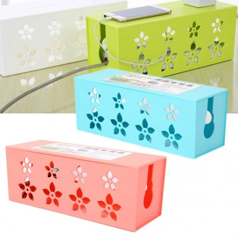 Hollow Flower Style Square Electrical Outlet Power Strip Wire Cord Cable Storage Box Random Color M