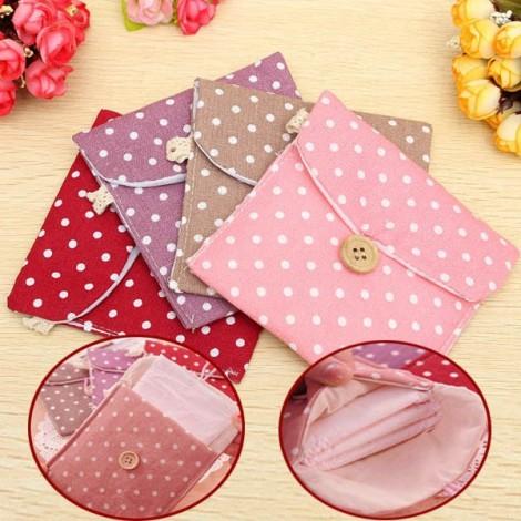 Colored Dots Pattern Girl Lady Cotton Linen Sanitary Napkin Pad Storage Bag Random Color