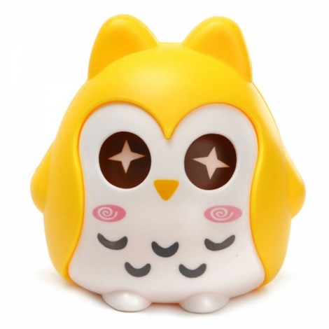 Cute Cartoon Owl Shaped Coins Cash Money Saving Bank Storage Case Box Yellow