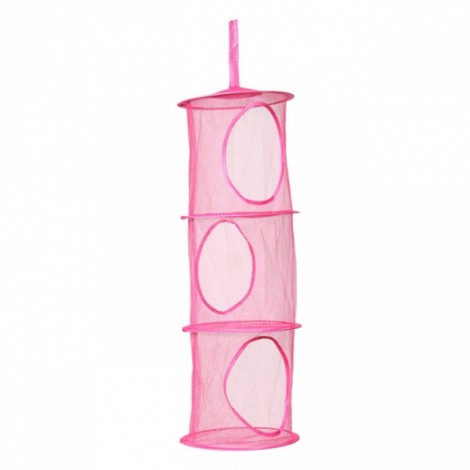 Colored Cylindrical 3 Shelves Hanging Storage Net Organizer Bag for Bedroom Wall Door Closet Rose Red