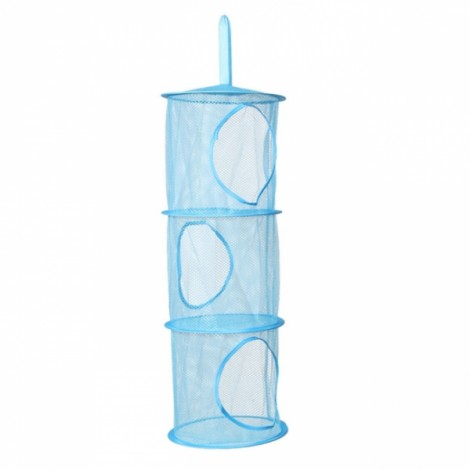 Colored Cylindrical 3 Shelves Hanging Storage Net Organizer Bag for Bedroom Wall Door Closet Blue