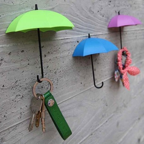 3pcs Novel Umbrella Shape Hooks Home Decoration Paste Green & Blue & Purple