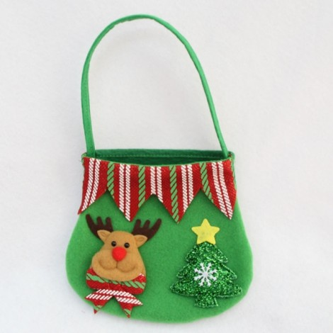 Christmas Candy Bag Reindeer Gift Bag Fruit Candy Storage Bag Christmas Decor Green