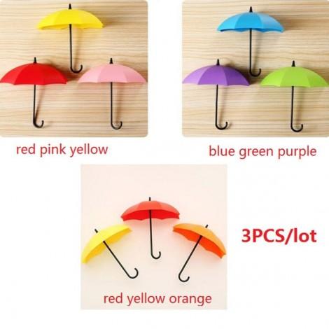 3pcs Novel Umbrella Shape Hooks Home Decoration Paste Red & Pink & Yellow