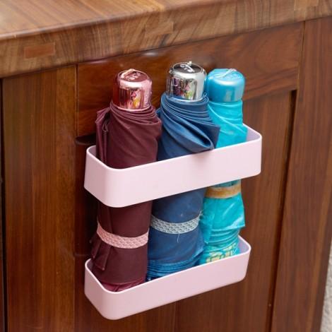 Creative Umbrella Storage Rack Pasted Type Umbrella Rack Draining Finishing Rack L Pink
