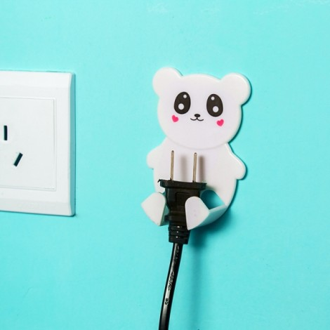 2pcs Plastic Cartoon Animal Plug Socket Safety Wall Hooks Door Hanger White