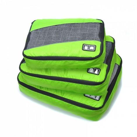 3pcs Waterproof Portable Travel Business Storage Bag Set Green