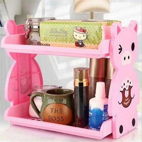 Cartoon Animal Pattern Home Kitchen Bathroom Double Layer Storage Rack Shelf Pink