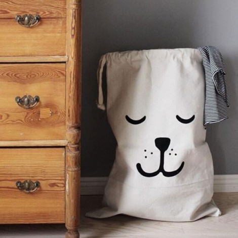 Cute Sleeping Bear Pattern Baby Toys Storage Canvas Bag Drawstring Bag Pouch White