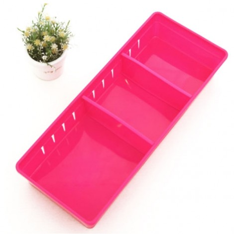 3 Grids Design Plastic Drawers Home Kitchen Jewelry Storage Box L Rose Red