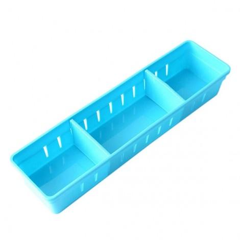 3 Grids Design Plastic Drawers Home Kitchen Jewelry Storage Box S Blue