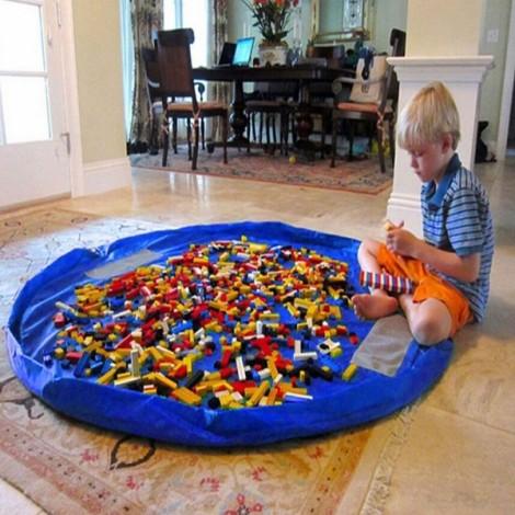 1.5m Large Portable Toys Storage Bag Kids Children Room Tidy Up Toy Bag Play Mat Royalblue