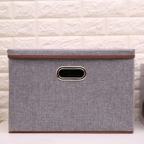 Foldable Cotton and linen Storage Box Clothing Home Storage Gray