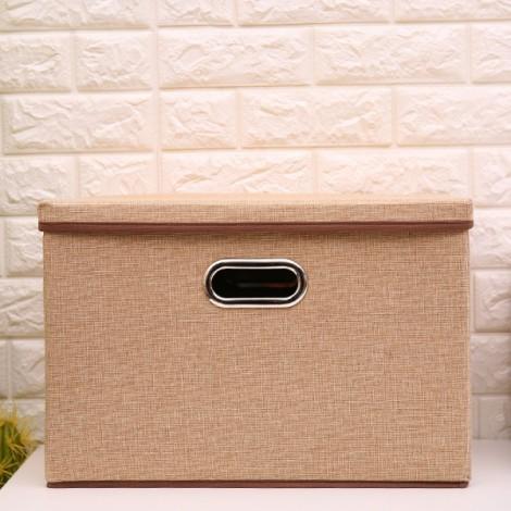 Foldable Simple Cotton and linen Storage Box Clothing Storage Khaki