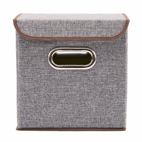 Multifunction Non-woven Foldable Storage Box with Lid Gray