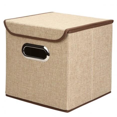 Multifunction Foldable Storage Box Cube Basket Bin with Lid Khaki