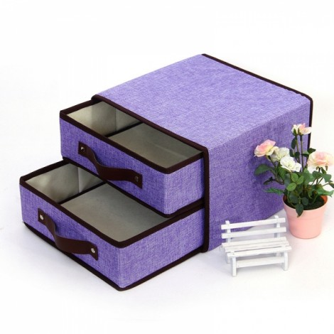 Fold Organizer for Clothes Bra Socks Storage Bag Case 3 Layers Purple
