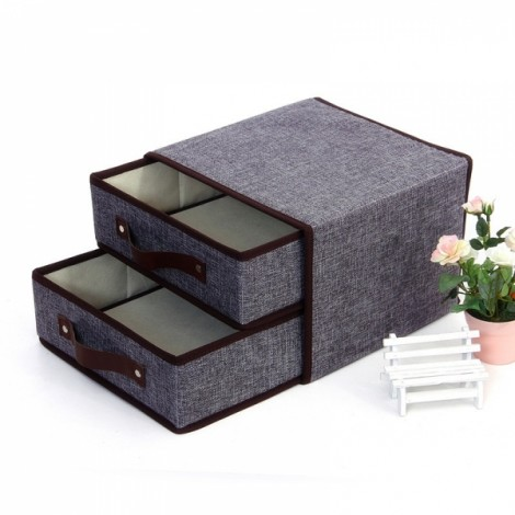 Fold Organizer for Clothes Bra Socks Storage Bag Case 3 Layers Gray