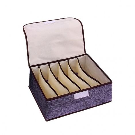 6 Cells Underwear Sock Tie Storage Organizer Bra Boxs Gray