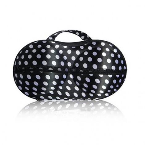 Women Portable Bra Underwear Lingerie Storage Case Protective Travel Bag Black with White Dot