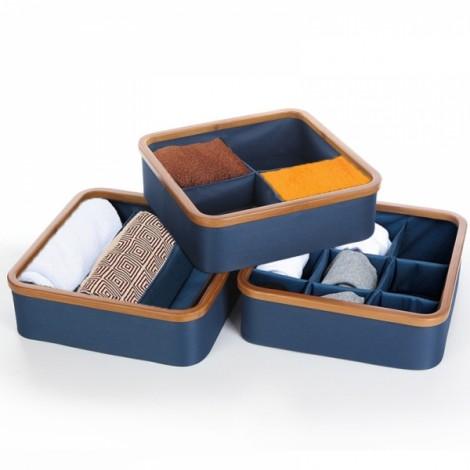 Bamboo Drawer Organizer Divider Closet Storage Bin for Underwear Socks Bra Ties 3 Cells Navy & Wood Color