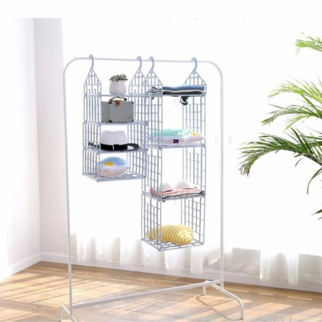 DIY Hanging Closet Organizer Plastic Folding Storage Shelving with Hook Clothes Shelf Rack Holder - 3 Big Layers