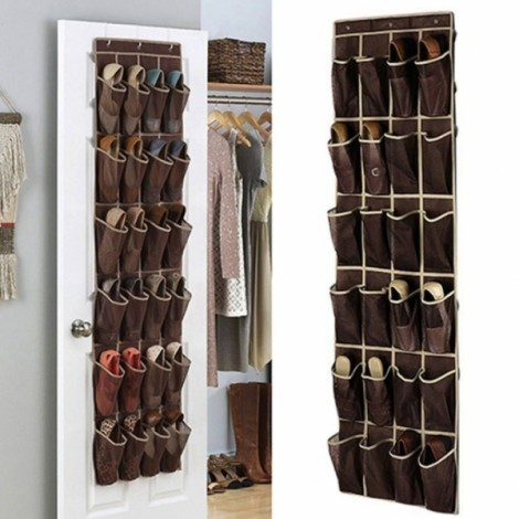 24 Pockets Space Saver Shoe Organizer Over the Door- Coffee