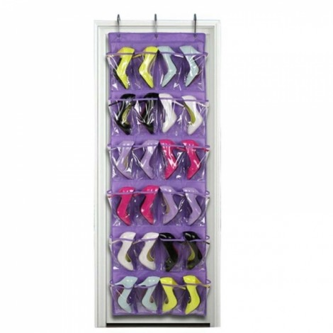 24 Clear Pockets Single-sided Over The Door Shoe Organizer Hanging Storage Bag with 3 Hooks - Purple