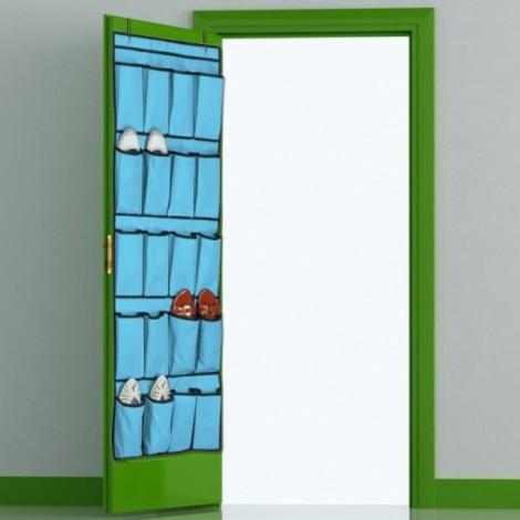 20 Pockets Space Saver Shoe Organizer Over the Door- Blue
