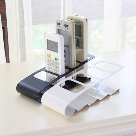 Metal Four Lattice Remote Storage Rack TV DVD VCR Step Remote Control Mobile Phone Holder - Black