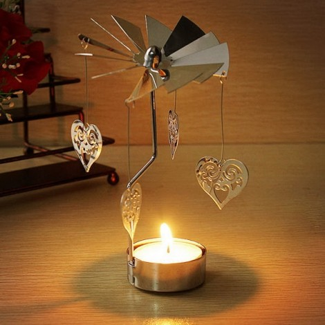 Aluminum Rotatory Spinning Carrousel Tea Light Candle Stand Holder Heart