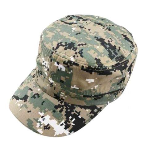 Unisex Camouflage Military Disguise Flat-top Cap Sport Baseball Hunting Hiking Cap Gray Green & Khaki Background