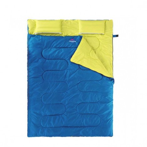 NatureHike Envelope Style Adult Double Sleeping Bag with Pillow Blue