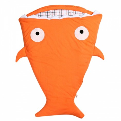 Cute Cartoon Shark Style Newborns Sleeping Bag Winter Strollers Bed Blanket Orange