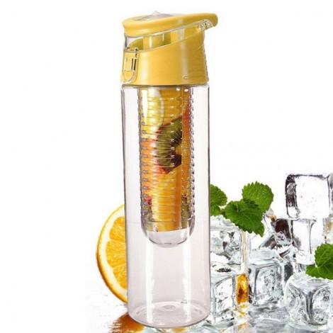 Outdoor Sports Fruit Juice Infuser Lemon Juice Water Bottle with Flip Lid 800ml Yellow
