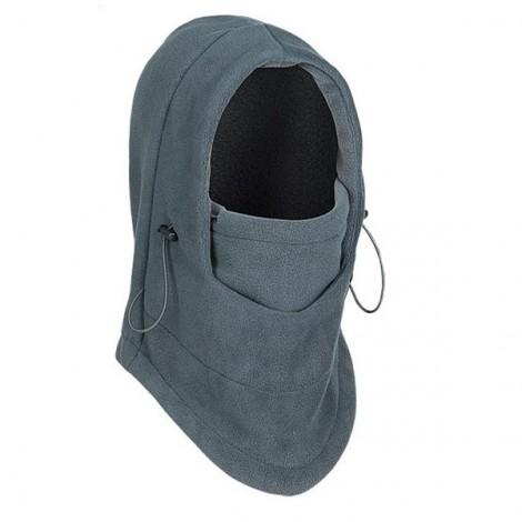 Thermal Fleece Balaclava Hat Hooded Neck Warmer Winter Sports Face Mask Gray