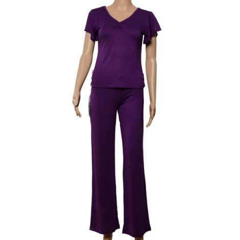 Modal Falbala Short-sleeve Yoga Clohting Suit Size XL Purple
