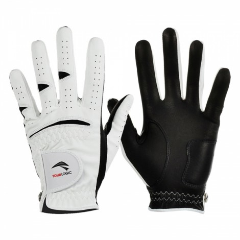 TOURLOGIC Men's Full Finger Goat Skin + PU Leather Golf Gloves White & Black