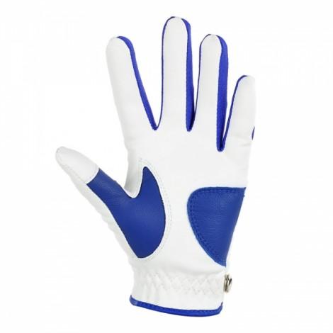 TOURLOGIC Children's Full Finger Goat Skin + PU Leather Golf Gloves White & Blue