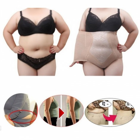 Plus Size Woman Functional Shapewear Hi-Waist Shaping Pants Nude Color 5XL