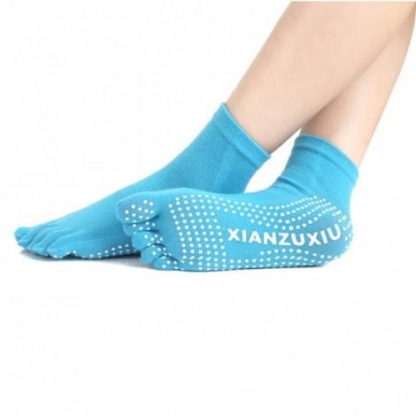 Yoga Five-toes Anti-slip Granules Practice Cotton Socks Blue