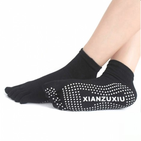 Yoga Five-toes Anti-slip Granules Practice Cotton Socks Black