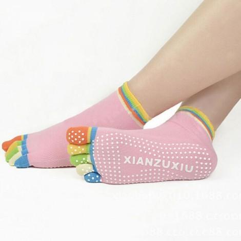 Yoga Five-toes Anti-slip Granules Practice Cotton Socks Pink