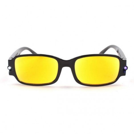 Multifunctional 100-Degree Yellow Lens LED Night Vision Reading Glasses with Magnet Therapy Money Detection Function Black