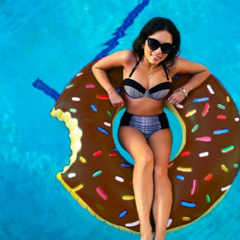 Inflatable Swim Ring Cut Chipped Strawberry Donut Style Swimming Pool Water Float Raft 60cm Coffee