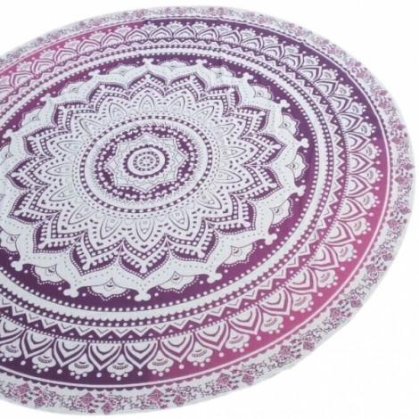 150cm Bohemian Style Thin Chiffon Flowers Pattern Beach Yoga Towel Mandala Round Bed Sheet Tapestry Tablecloth Gradient Purple